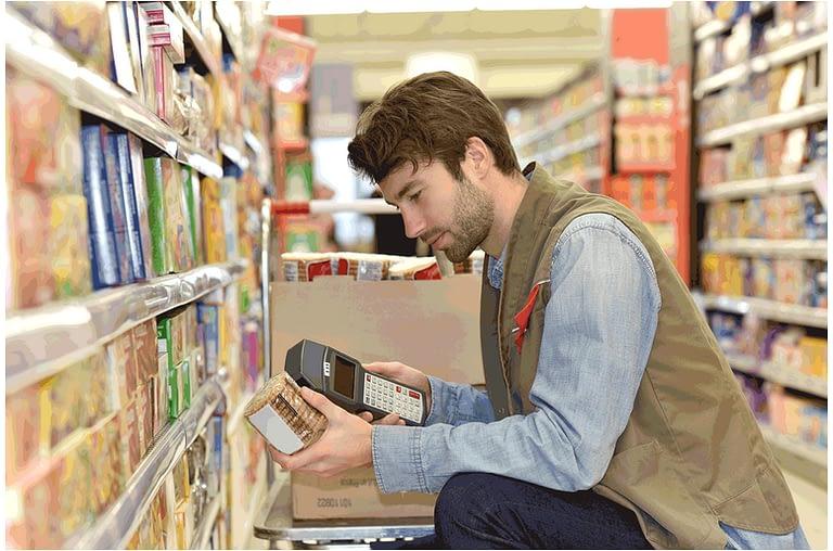 Scanning barcode data before stocking shelves 1