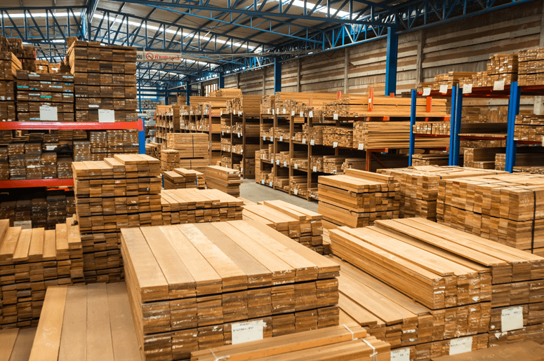 Timber in warehouse