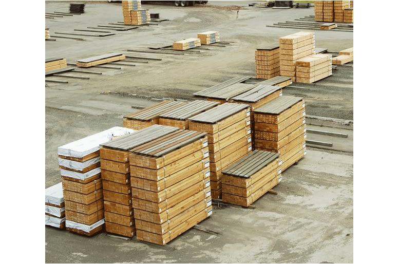 Lumber yard wood on pallets