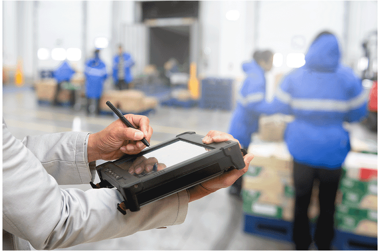 warehouse boxes pallets tablet technology