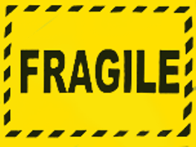 Fragile Labels Fluro Yellow