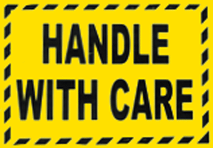 Handle With Care Fluro Yellow